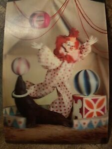 25-Vintage-vari-vue-Circus-Clown-3D-Unused-Postcard-NOS
