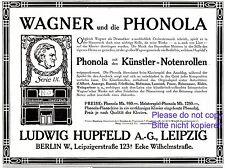 Klavier Phonola Hupfeld Reklame 1903 selbstspielendes Notenrolle Richard Wagner