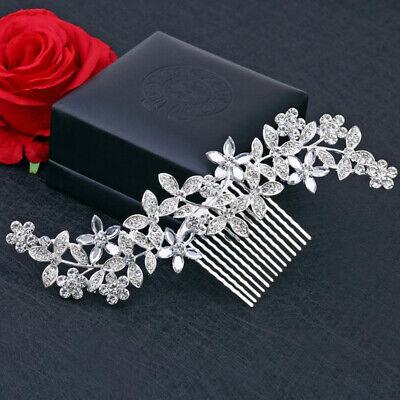 Frank Hochzeit Strass Haarnadeln Clip Braut Diamante Crystal Slide Comb Silber Geschen