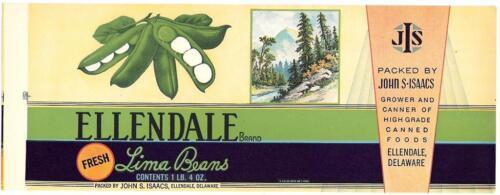 De. Wholesale Dealer/'s Lot 25 Ellandale Brand Lima Beans Can Labels Ellandale
