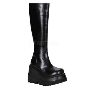 Demonia-Shaker-100-Gothic-Goth-Punk-Rock-Wedge-Platform-Knee-High-Boots-Size-6