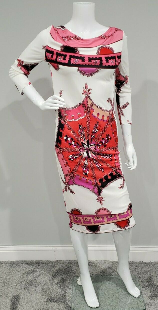 Emilio Pucci Hot Pink and White Silk 3/4 Sleeve Dress Size US 6
