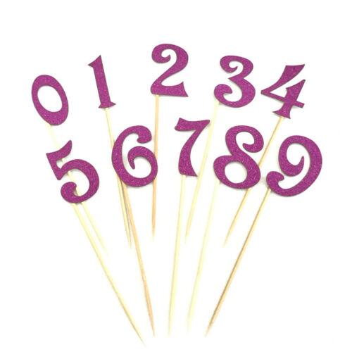 10pcs DIY Glitter 0-9 Number Cake Topper Cupcake Picks For Kids BirthdayPartODUS