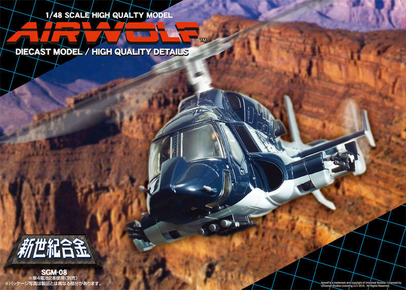 SGM-08-BL-OP  Defective Aoshima Airwolf 1 48 Scale Diecast Model, bluee