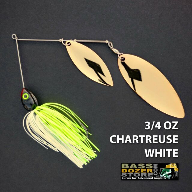 Bassdozer spinnerbaits BIG WILLOW 3/4 oz. CHARTREUSE WHITE DOUBLE spinner bait