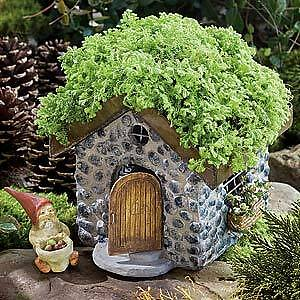 Miniature Dollhouse FAIRY GARDEN ~ Stone Cottage with Living Roof ~ NEW