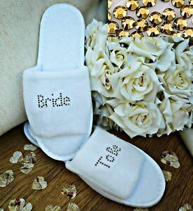 Personalised Slippers Diamantes Wedding Spa Guest Shoes Towelling GOLD S Fancy