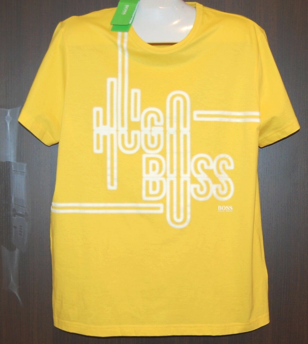 Hugo Boss Yellow White  Logo Design Cotton Mens T- Shirt Size 2XL NEW Boss Green