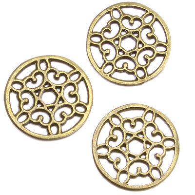 300pcs Vintage Bronze Alloy Hollow Flowers Round Jewelry Charms Pendants 16mm D