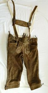 Maddox Country Adult's Brown Leather Traditional Lederhosen Size 46 - Used