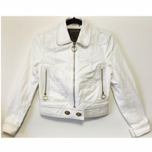 Coach White Crop Denim Jean Moto Jacket Size 4 Gol