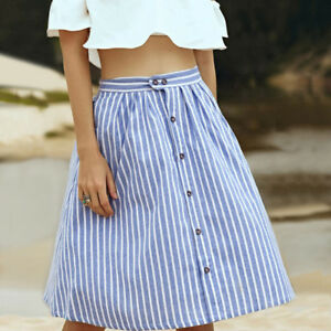 35633b4bc9b0 Women Blue Striped Summer A-line High Waist Knee Length Midi Skirts ...