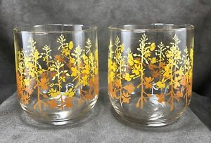 TWO-Vintage-Orange-Yellow-Ombre-Flower-Floral-Lowball-Drinking-Glasses-Tumblers