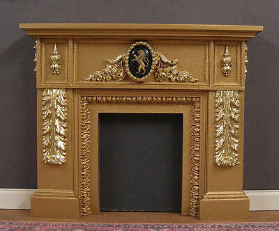 FIREPLACE ~ VINTAGE  GLASS  LION ~ Dollhouse~ Distressed ~ 1:12 scale ~ Room Box