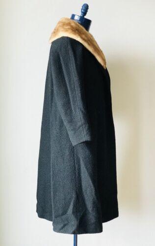 nero Cappotto vintage pelliccia intera con Collins Oppenheim collo figura a giacca di rrwaH0qx