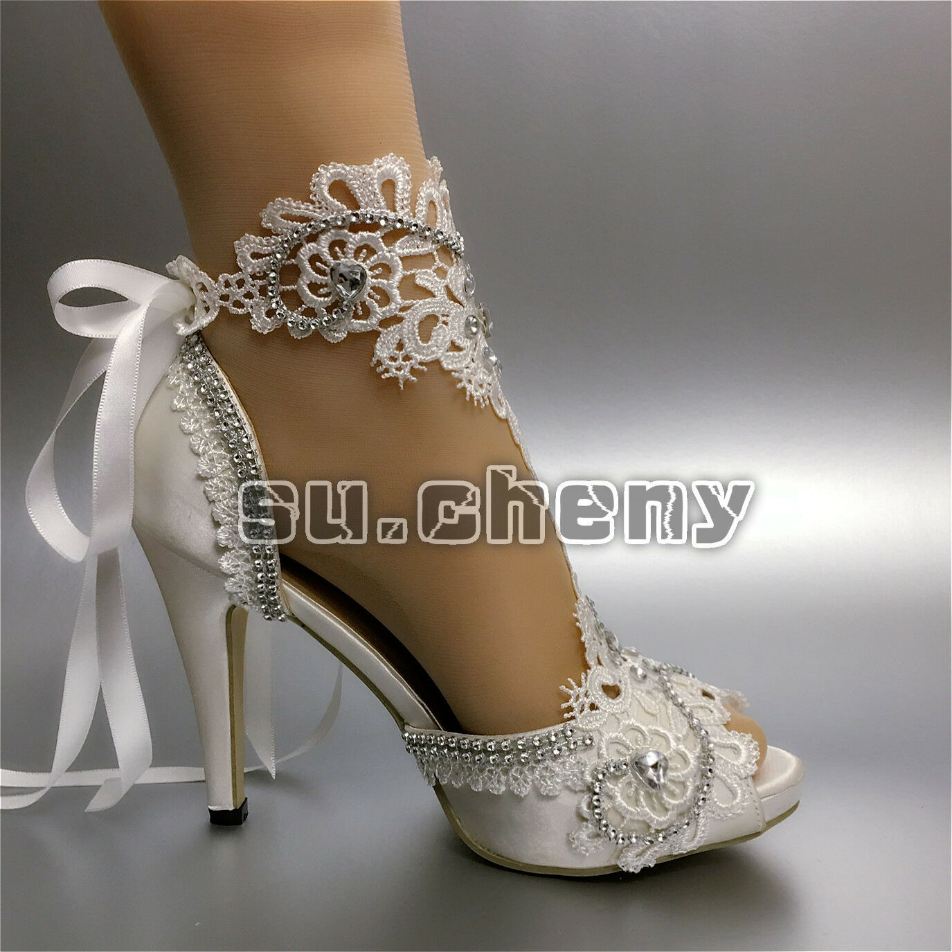 Su.cheny Rhinestone satin peep toe ribbon ankle white white white ivory Wedding Bridal shoes fcf53b