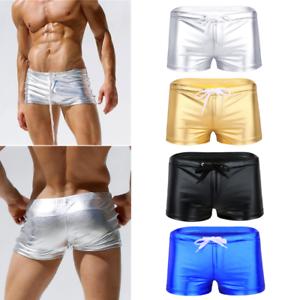 Calzoncillos-Boxer-para-Hombre-Pantalones-Cortos-de-Charol-Brillante-Sexy-Bikini