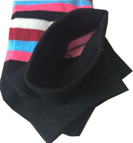 6 Pairs Ladies Women Coloured Design Cut Sock Polyester Blend Designer Adult 4-6