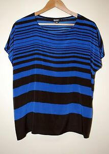 DKNY-Silk-Blue-amp-Black-Blouse-size-S
