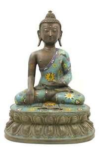 Siddharta-Gautama-Buddha-Figura-46cm-Bronzo-Cloisonne-Shakyamuni-AsienLifeStyle