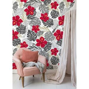 Hibiscus-Variation-Red-Floral-Non-Woven-wallpaper-Traditional-watercolor-Mural