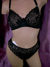 BAMBAGIA Bra No Pad & Thong Set DUTCH LACE Black 38C-L NWT ret$122 made in ITALY