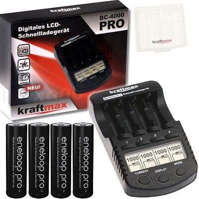 BC-4000 Pro Akku & USB Ladegerät + 4x Panasonic Eneloop PRO XX Mignon AA Akkus
