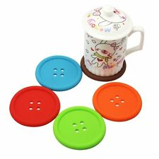 PACK OF 5 Button Coasters Silicone Non-Slip Cup Colourful Place Mats Drinks Cute