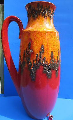 Scheurich  - Fat Lava - Keramik Vase  XL - 426-47  - Vintage -  70' rot-orange