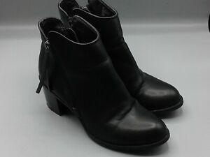 A-N-A-Women-6-5-M-Black-7-034-Ankle-Boots-Zipper-2-034-Heel-Faux-Leather