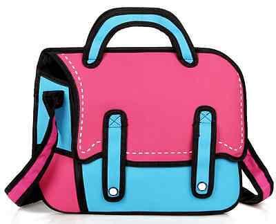 Fashion Women 3D Jump Style 2D Drawing Cartoon Comic Canvas Messenger Handbag