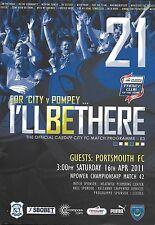 Football Programme>CARDIFF CITY v PORTSMOUTH Apr 2011