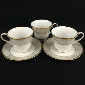 VTG-Set-of-3-Cups-and-2-Saucers-by-Nikko-Fine-China-Evening-Lace-2750-Thailand