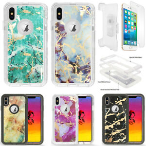 huge selection of 5c79a 4b044 Details about Marble Clear Defender Case For Apple iPhone XR W/Screen&Belt  Clip Fits Otterbox