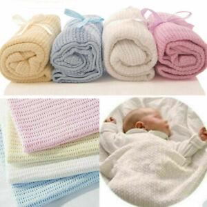 Baby Soft Cellular Blanket 100% Cotton Pram Cot Moses Basket Crib Wrap 75x100cm