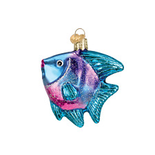Blue Tropical Angel Fish Old World Christmas Tree Ornament Nwt mouth blown glass