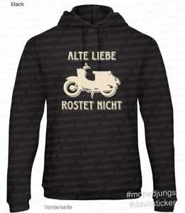 Kapuzen-Sweater-Hoodie-034-Alte-Liebe-Rostet-nicht-034-Schwalbe-Mopedjungs-Simson-DDR