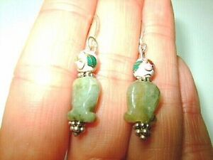 GREEN-JADE-NATURAL-GEMSTONE-FISH-STERLING-SILVER-SOLID-92-5-HOOK-EARRINGS