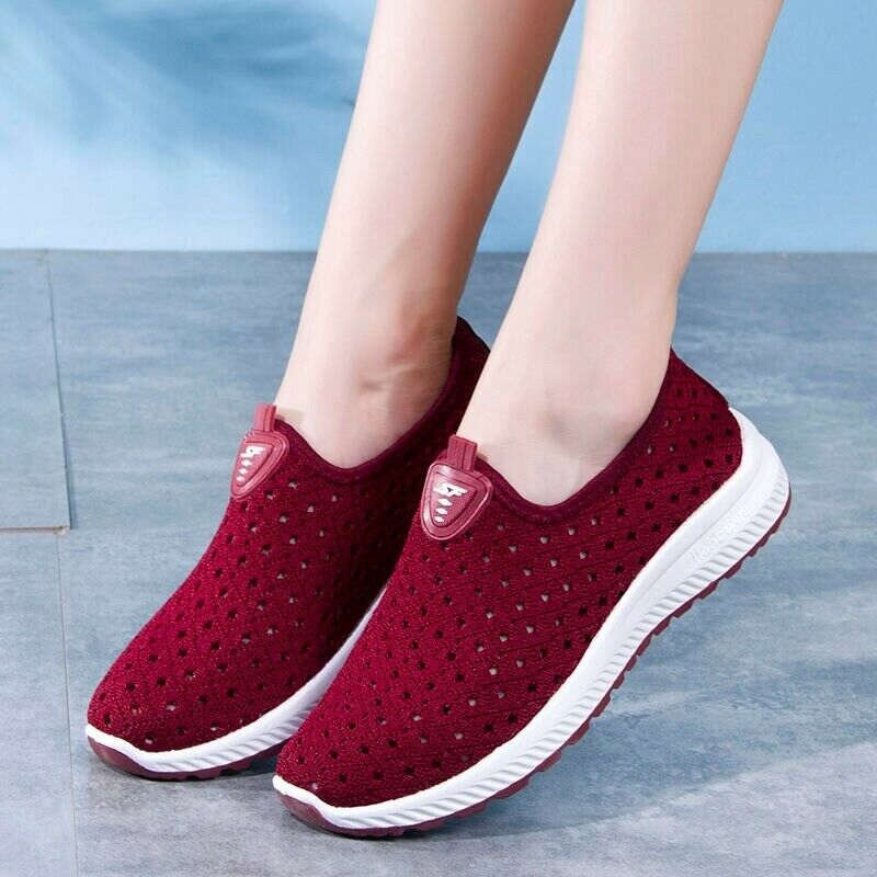 Women's Summer Chiffon Chaussures respirant creux Mesh Casual Baskets Mom's shoes