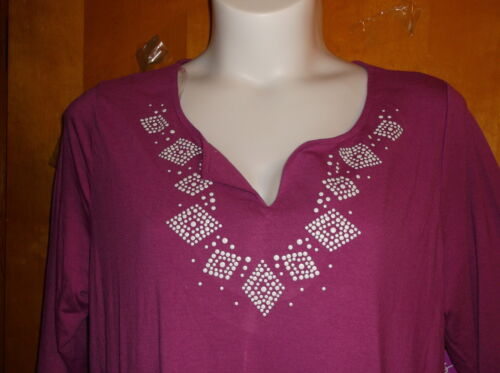 "BRAND NEW /""JUST MY SIZE/""   STUD TUNIC TOP  in a PURPLE TORCH COLOR"