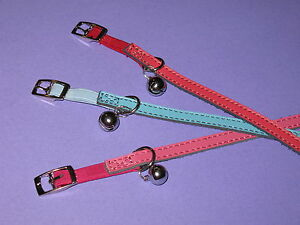 Pink-Blue-Red-amp-Purple-Plain-Leather-Cat-Safety-Collars-30cm
