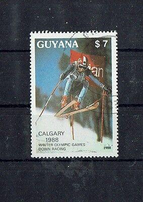 "2408 Sondermarke Guyana ""olympiade Calgary 1988 "" Mich Nr Geschickt Tolle Sport"