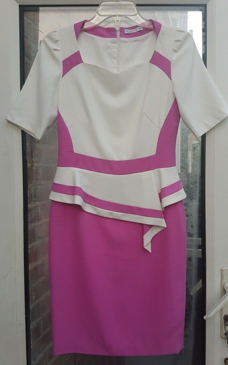 ALOME Ladie's White Pink Short Sleeve Lined Pencil Wedding Smart Dress Size M