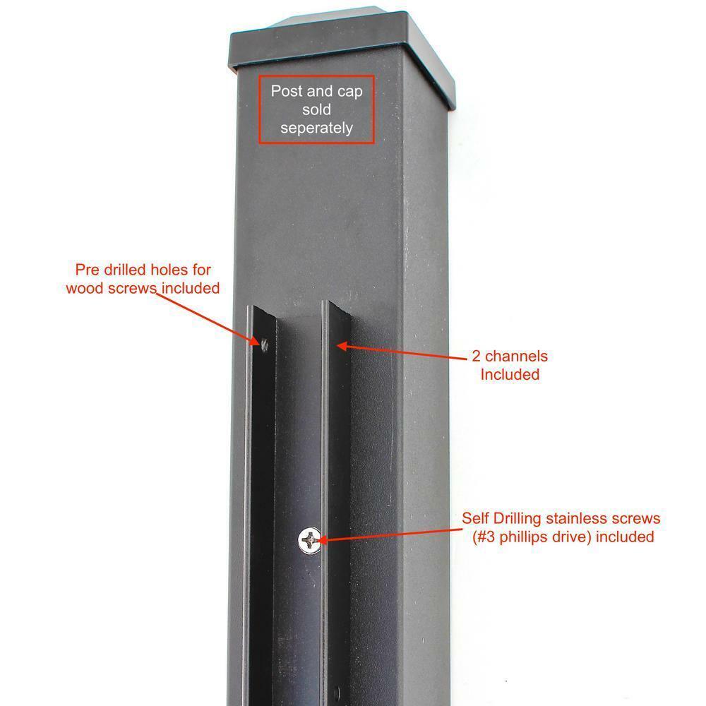 Black Aluminum 6 ft Fence Rail Channel Kit Composite Fencing Powder Coated