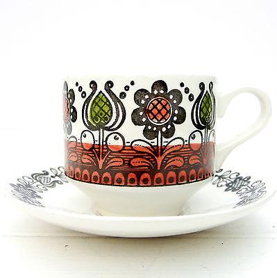 Vintage Retro 1970s Broadhurst Kathie Winkle Romany Tea Coffee Cup Saucer
