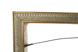 "Vintage Art Deco Style Wood and Gesso Gold Picture Frame Fits 20.5"" x 13"""