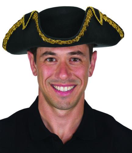 Deluxe Tricorne Tricorn Tricorner Pirate Colonial Revolutionary War Black Hat