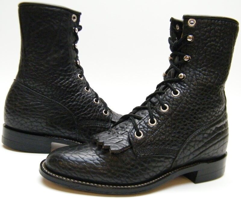Damenschuhe JUSTIN L522 LACER BLK BULL HIDE LEATHER LACER L522 LACE UP COWBOY WESTERN Stiefel 5 B 08ffa0