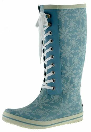 Däv lujo señora caballero botas de goma de Däv-lace up Sketchy Sky Blue-nº 41