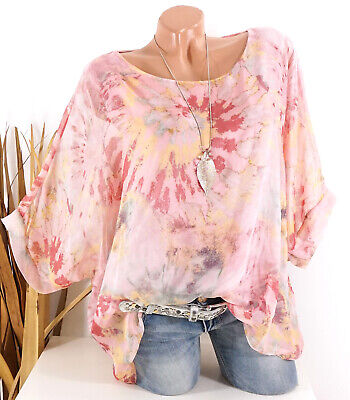 Italy Bluse Tunika Shirt Spitze Hängerchen rosa 38 40 42 off shoulder Damen